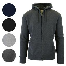 Mens Heavyweight Fleece Lined Zip Hoodie Sweater Slim-Fit Lo