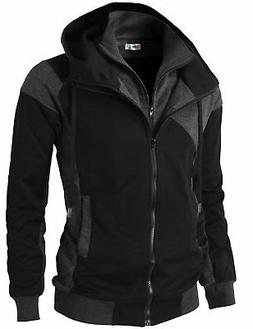 H2H Mens Hoodie Zip-Up Double Zipper Closer With Two Tone Co