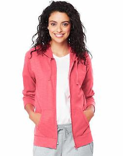 Hanes Women's Hoodie Lightweight Pockets Slub Jersey Full Zi