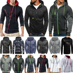 Mens Long Sleeve Basic Cotton Zip-Up Zipper Hooded Hoodie Ja