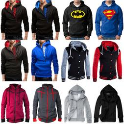Men Hooded Hoodie Coat Jacket Outwear Sweater Fit Jumper Zip