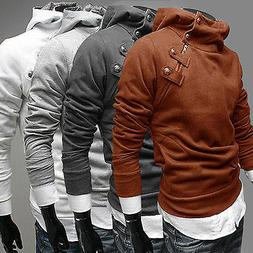 Mens Hoody Hoodies Turtle Neck Sports Pullover Jumpers Outwe