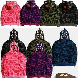 A Bathing Ape BAPE Men's Shark Jaw Camo Full Zipper Hoodie S
