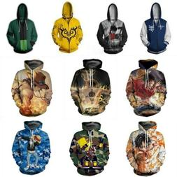 Anime ONE PIECE Roronoa Zoro Zipper Hoodie Sweatshirt Hooded