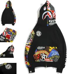 BAPE A Bathing Ape Men Shark Head Hoodie Full Zip Sweater Ca