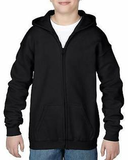 Gildan Kids' Little Full Zip Hooded Youth Sweatshirt, Black,