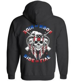 Born to Ride Ride to Live Men's Gildan Zippered Hoodie