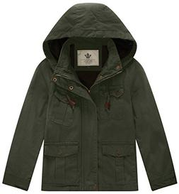 WenVen Boy's and Girl's Cotton Jackets with Removable Hood,