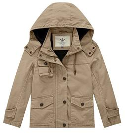 WenVen Boy's and Girl's Hooded Cotton Active Jacket, Khaki,