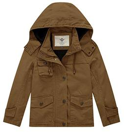 WenVen Boy's and Girl's Hooded Cotton Active Jacket, Brown,