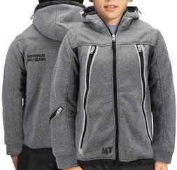 Boys Zipper Athletic Hoodie Sherpa Lined Juniors Sweater Kids Toddler Jacket