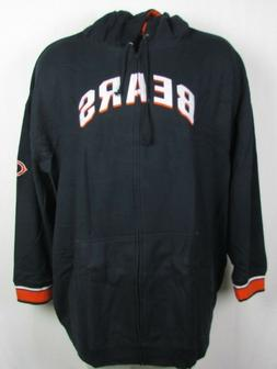 Chicago Bears Full Zip Fleece Embroidered Navy Majestic Hood