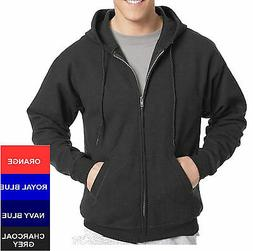Hanes Cotton Blend Full Zipper Hoodie Solid Plain Blank Long