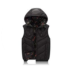 Cotton Vest Hoodie for Men Padded 3 Colors Warm Thick Parka