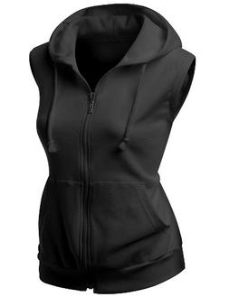 Womens high quality cotton Zip up hood Vest BLACK XL