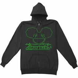 Deadmau5 Men's  Outline Zippered Hooded Sweatshirt Black