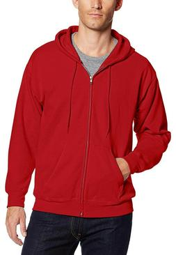 HANES Full-Zip EcoSmart Fleece Hoodie Mens Size S - Red