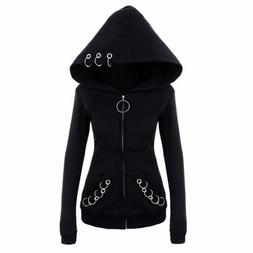 Gothic Punk Women Hoodies With Rings Black Casual Sweatshirt