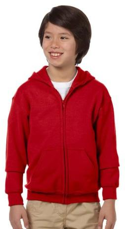 Gildan boys Heavy Blend Full-Zip Hooded Sweatshirt-RED-M