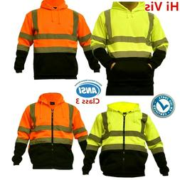 Hi Vis ANSI Class 3 Safety Pullover Hooded Sweatshirt Fleece