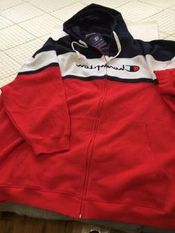 champion hoodie big and tall 6XL Color Block Navy/Red/White