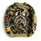 2018 Unisex Bape Camo WGM Shark Jaw Zipper Sweater Round Col
