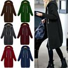 Women Fashion Zipper Open Hoodie Sweatshirt Long Coat Jacket