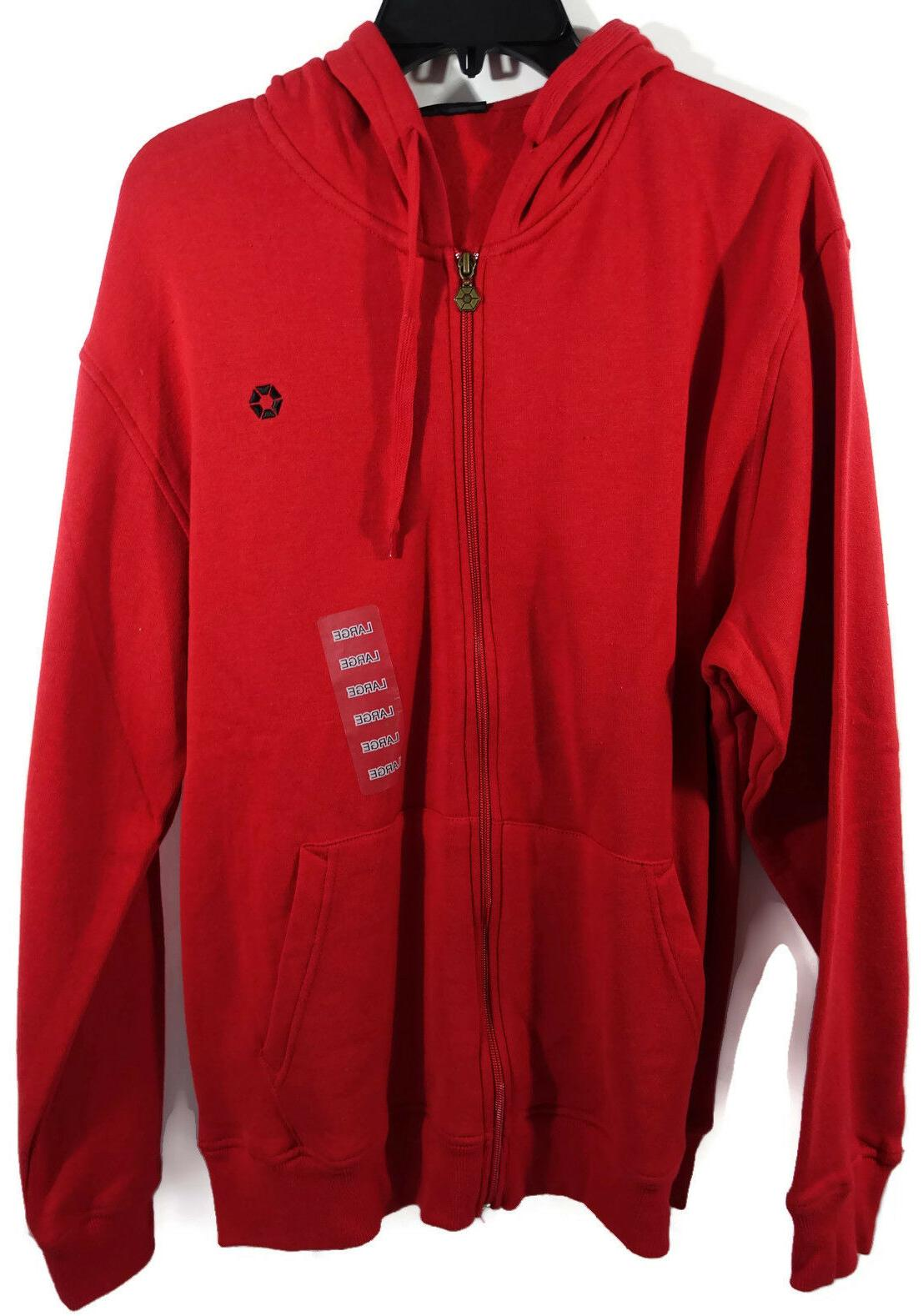 Mens Hoodie Large Southpole Red Zippered Sweatshirt