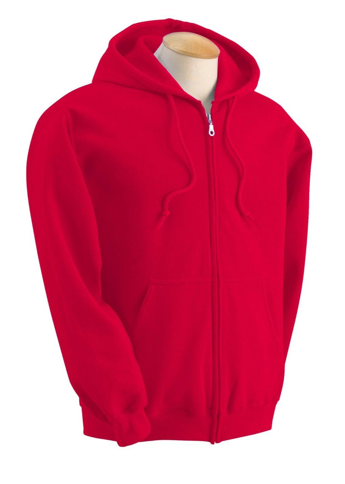 NEW Gildan Zipper Hoodie Men Ladies Unisex Red XL Hooded Zip