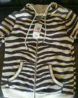 NEW MICHAEL KORS Zebra Stripe full Zipper Sweater Hoodie Jac