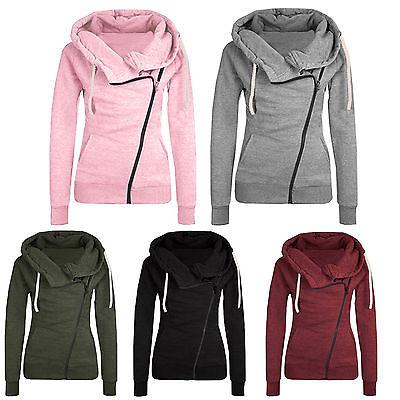 Women Casual Lapel Jacket Sweats Coat Zipper Sweatshirt Jump