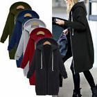 Women Zipper Open Front Hoodie Sweatshirt Long Coat Jacket T