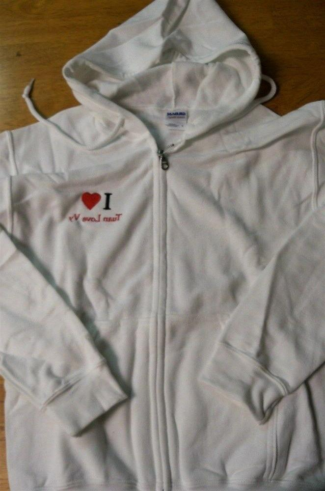 Women's Gildan Zipper Front I Love Tuan Love VY Graphic Whit