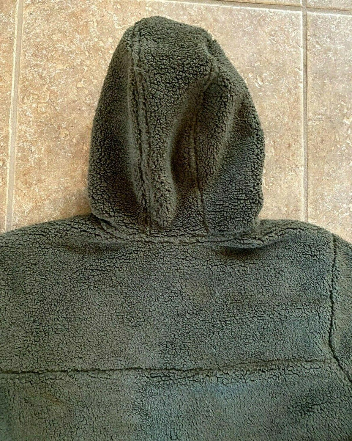 The Face Sherpa Hoodie XL Green/Grey $149