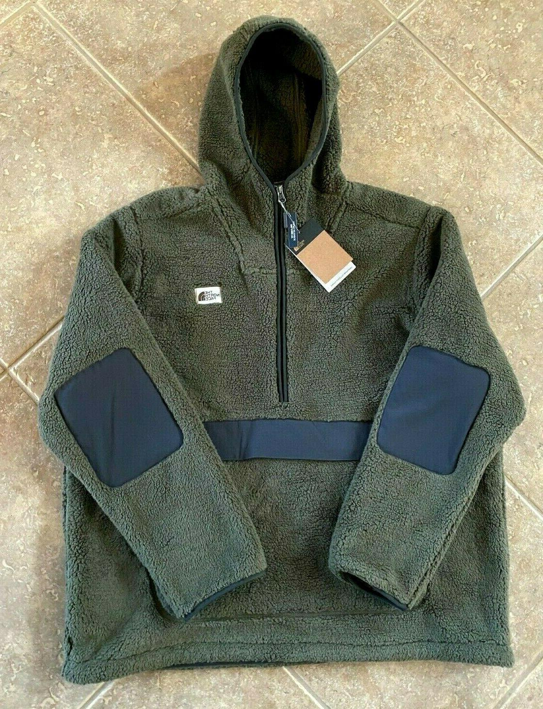 campshire sherpa fleece hoodie mens xl taupe