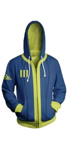 Fall out 4 Shelter 111 Costume Cosplay Hoodie Sweatshirt Zip
