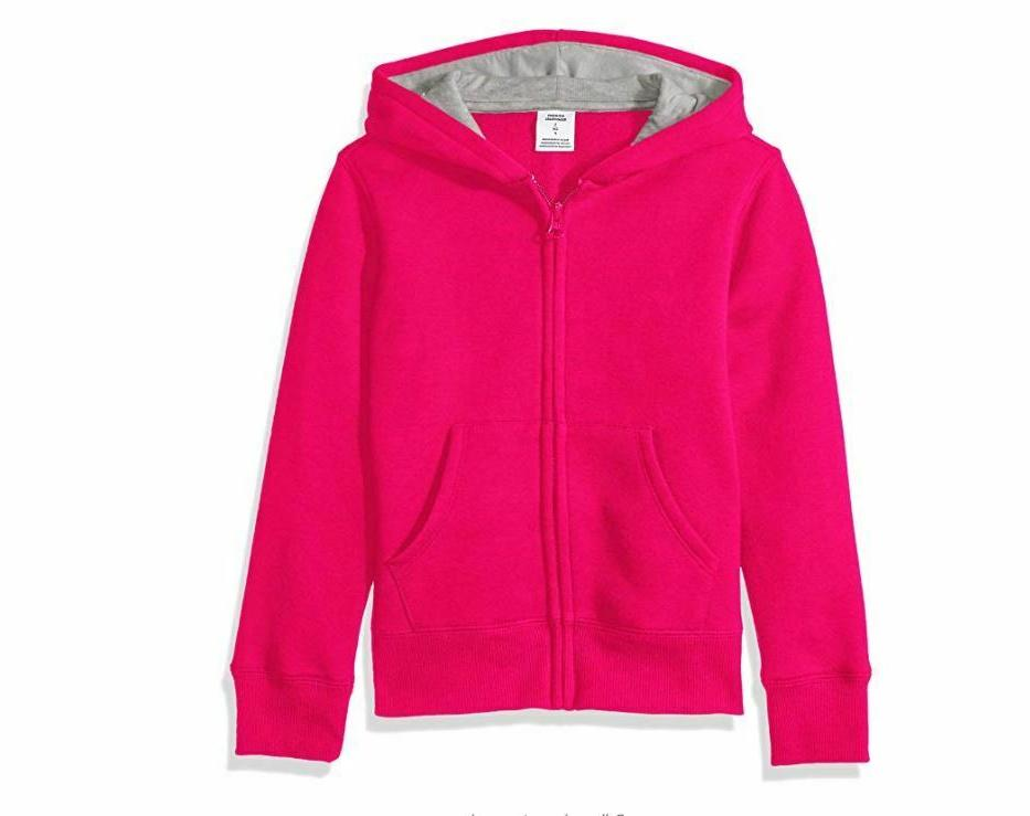 Amazon Essentials Girls' Fleece Full Zip up Hoodie Raspberry