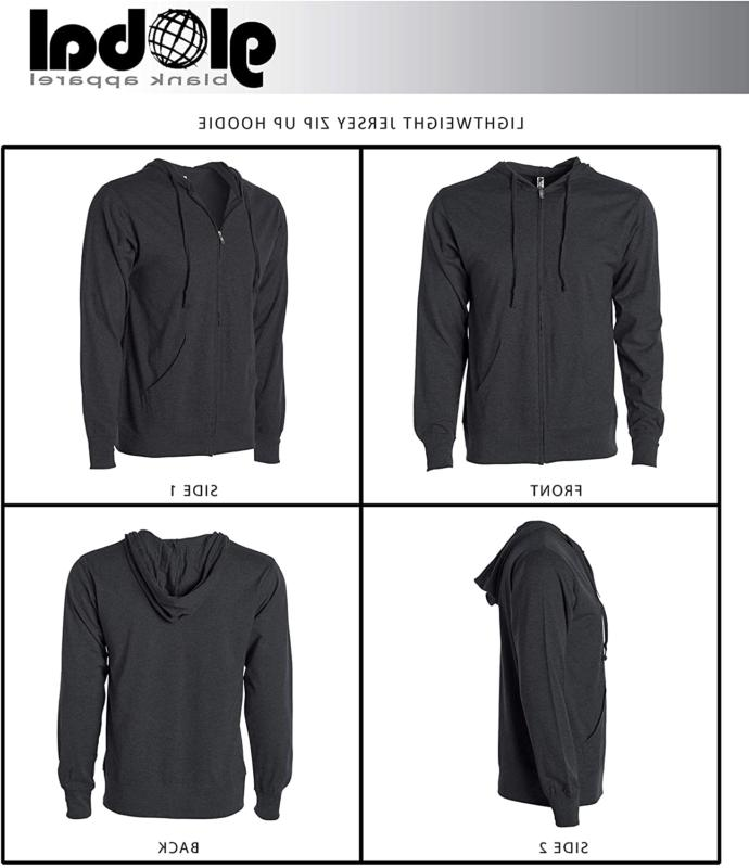 Global Blank Mens Lightweight Tshirt Jersey Zip Up Hoodie Hooded Sweatshirt