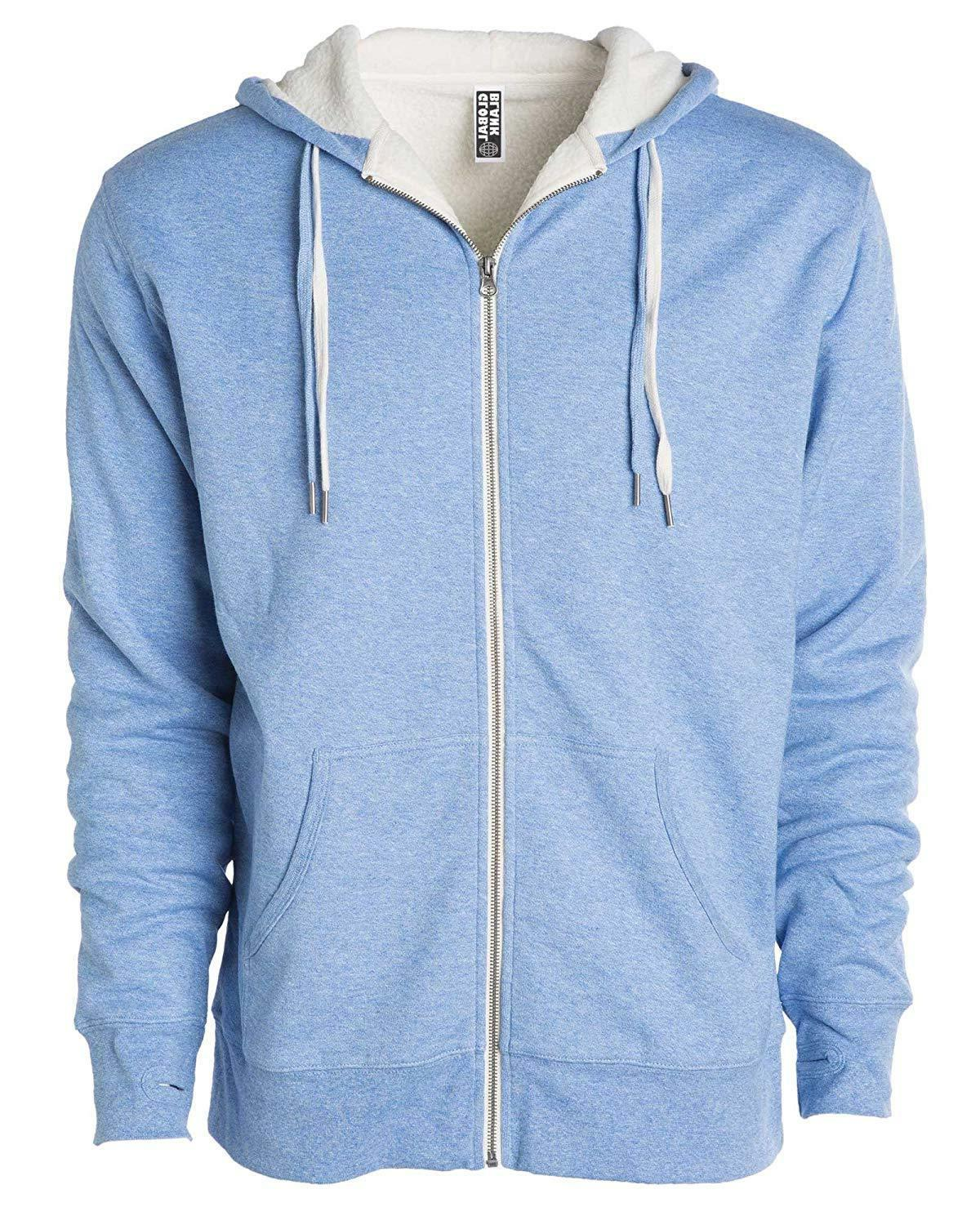 Global Heavyweight Lined Zip Up Fleece Hoodie H
