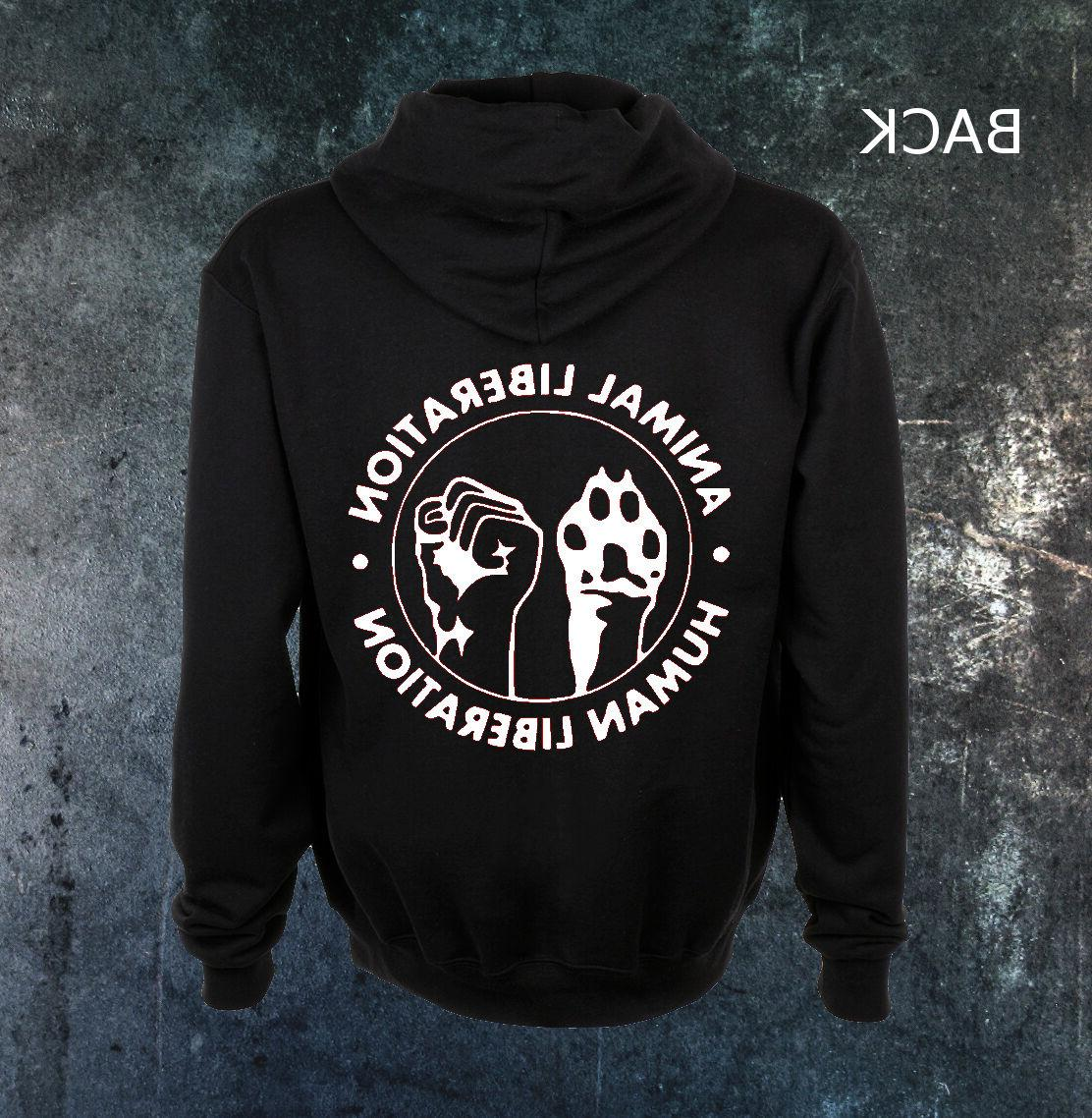 Human Animal Liberation Rights ALF Vegan Anarchy Zip Up Zipp