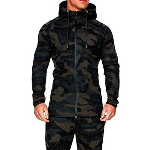 Men Hoodie Tracksuit Jogging Sports Pants Gym Outfit