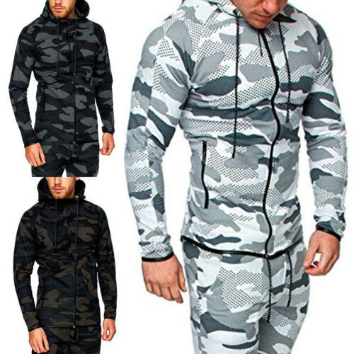 Men Hoodie Jogging Top Pants Casual Gym Sport Outfit