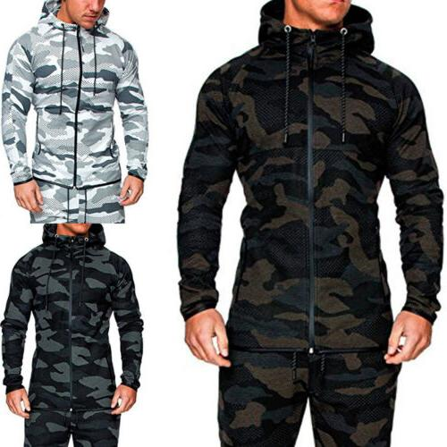 men hoodie tracksuit set jogging zipper sports