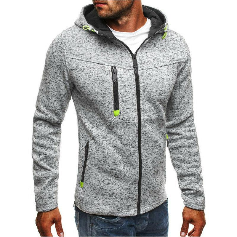 Men's Black/Gray Sports Hoodie Jacket Long Sleeved Zipper St