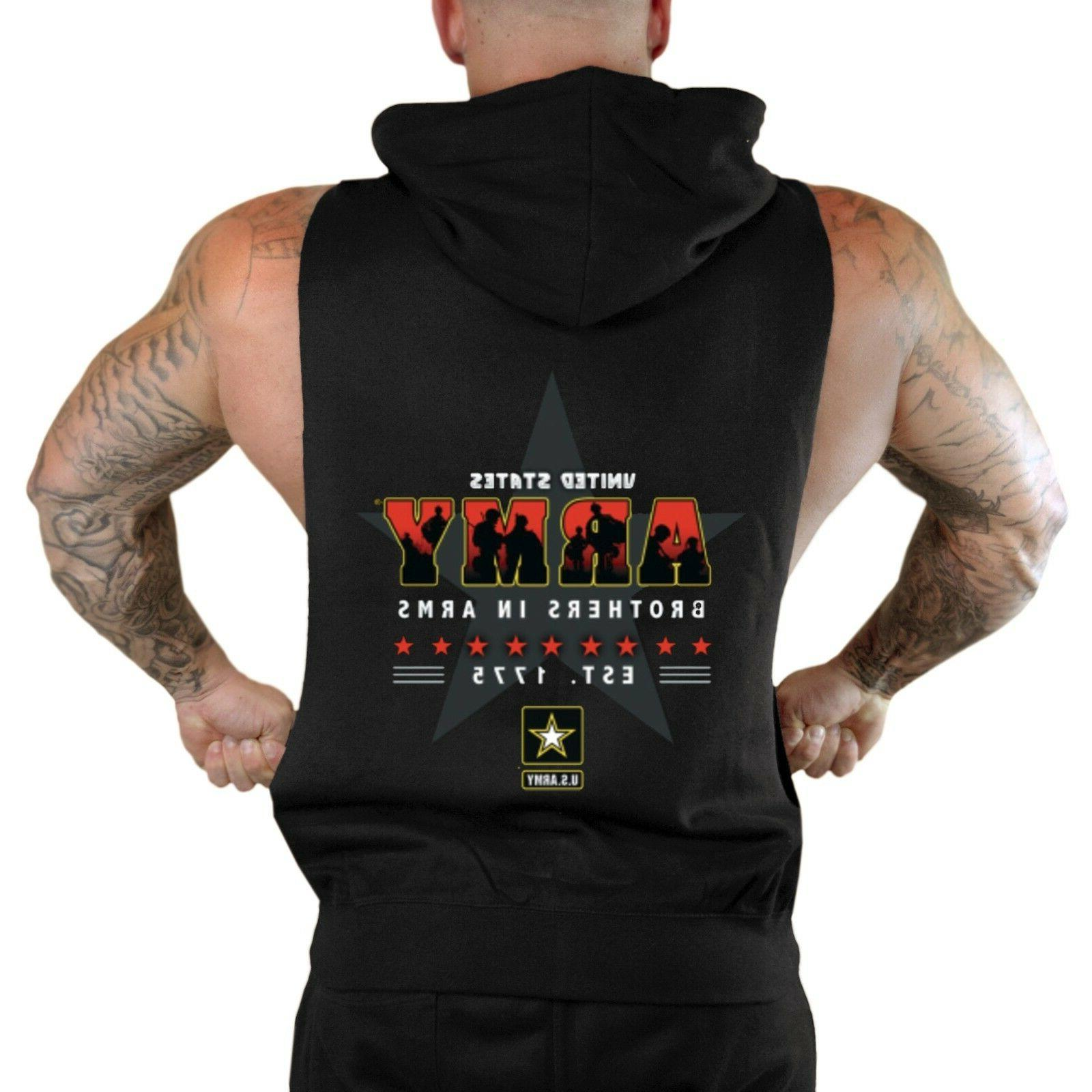Men's Brothers In Arms Black Sleeveless Zipper Hoodie Workou