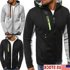 Men's Zipper Autumn Fleece Hoodie Hooded Sweatshirt Coat Jac