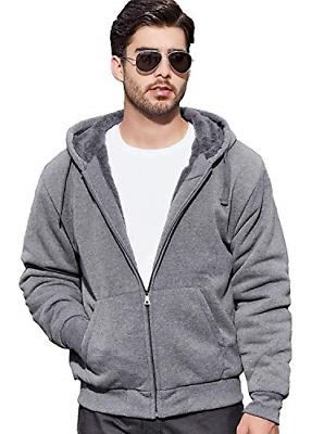GEEK LIGHTING Men's Zipper Fleece Hooded Sweatshirt Dark Gre