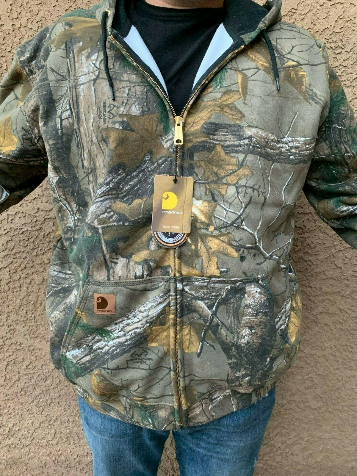Carhartt mens Midweight Realtree Camo Zip Front Hooded Sweat