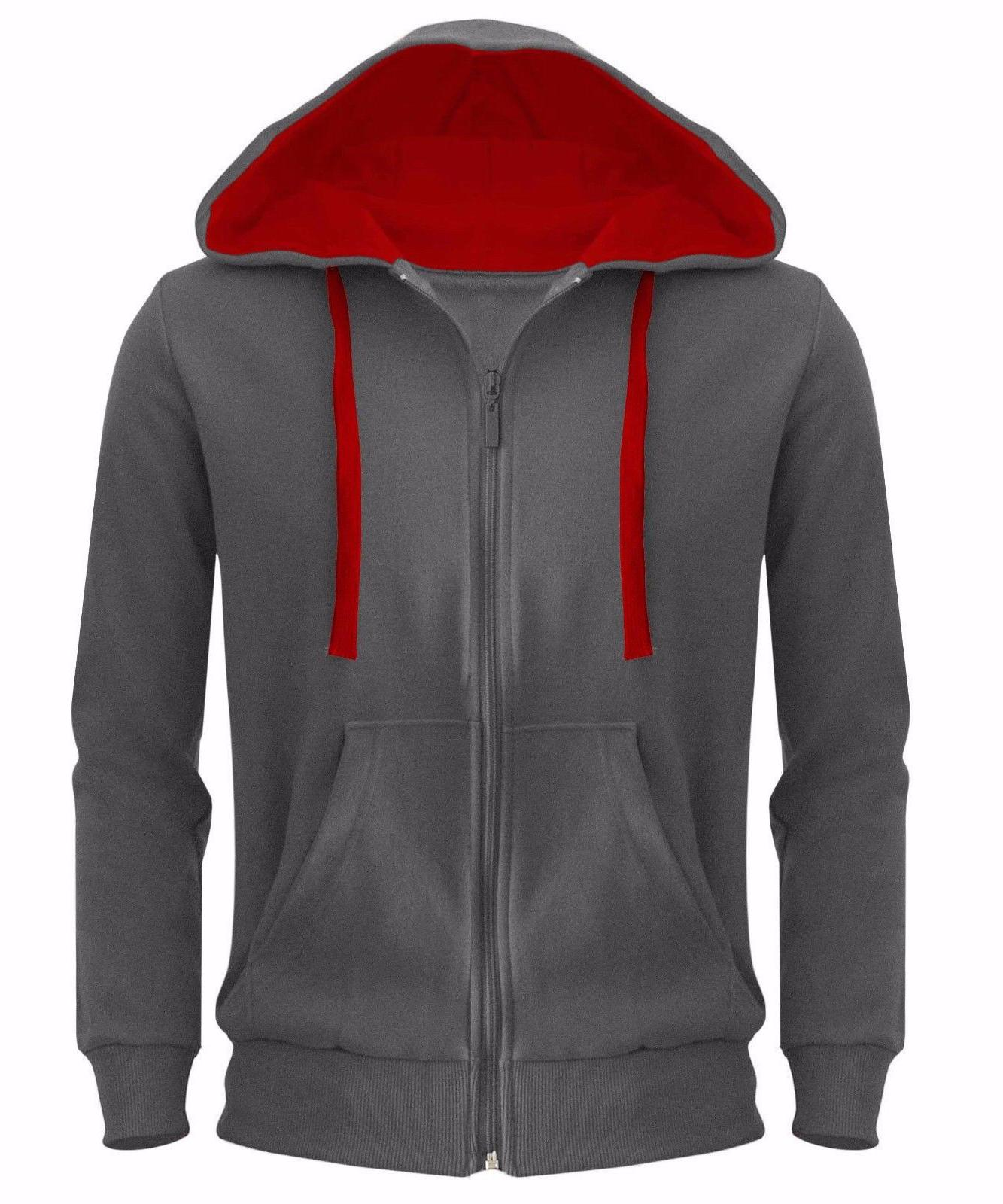 Mens Plain Zipper Jacket Sweatshirt Top Hoody