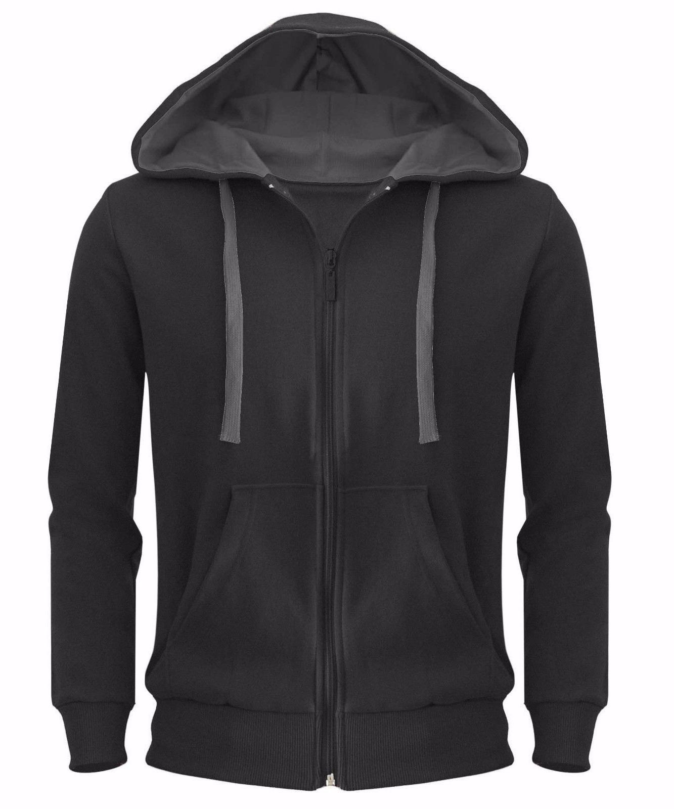 Mens Plain Hoodie Zipper Top